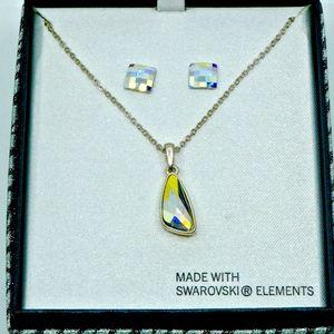 MACY'S~swarovski elements~NECKLACE & EARRINGS~BOX